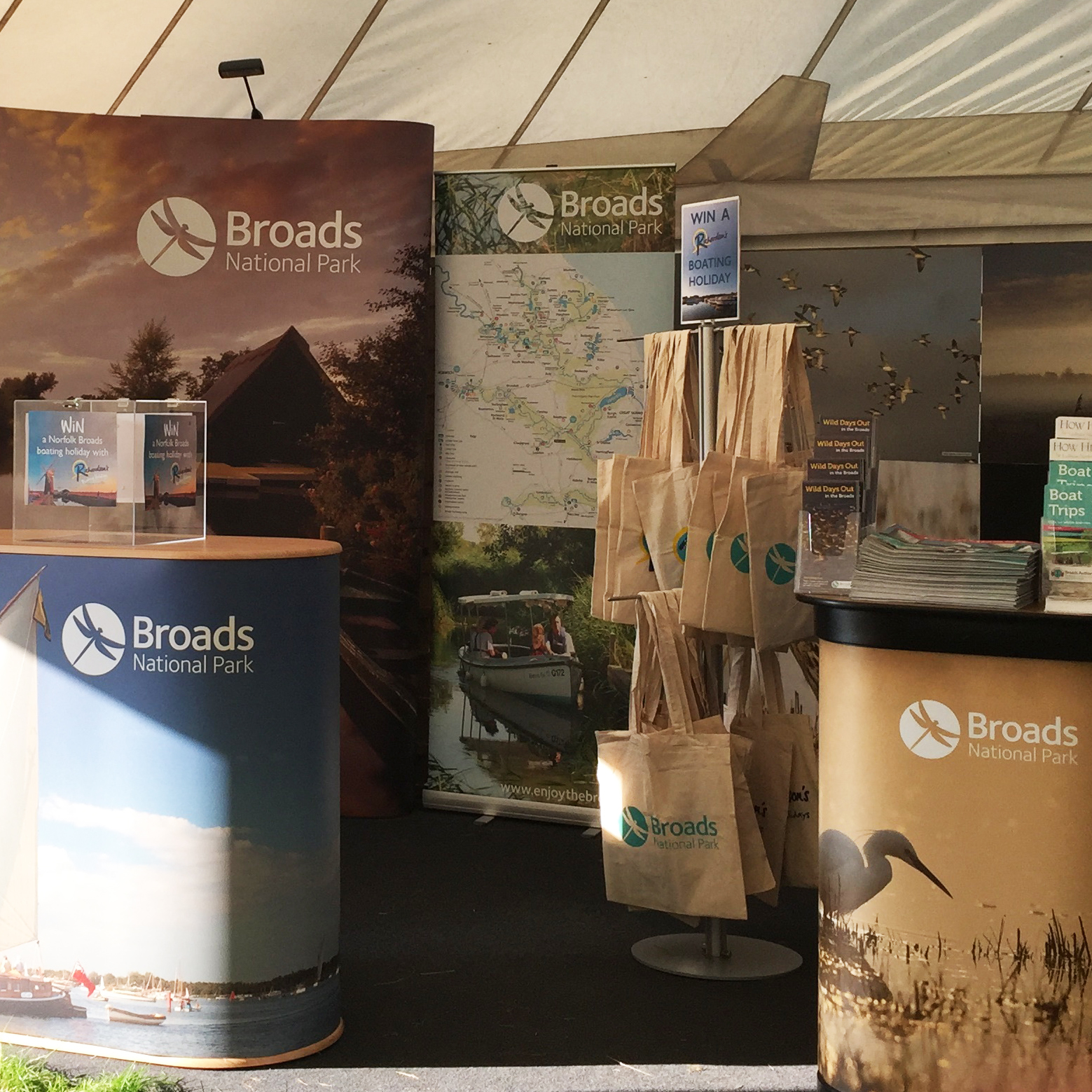 Broads National Park exhibition stand with carrier bags