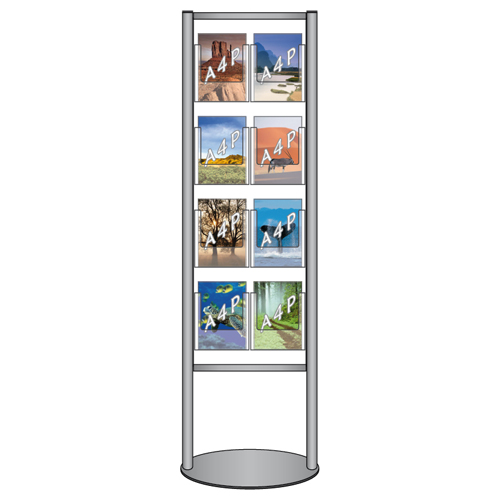 Brochure stand with 8x A4P leaflet holders