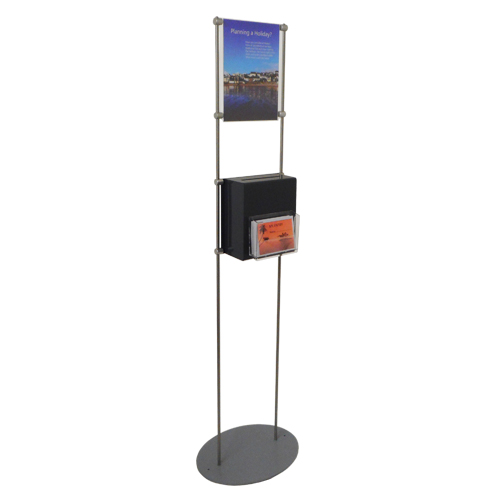 Free standing display with suggestion box