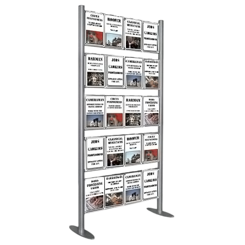 Upright display ladder with 20x A4P pockets set up for recruitment