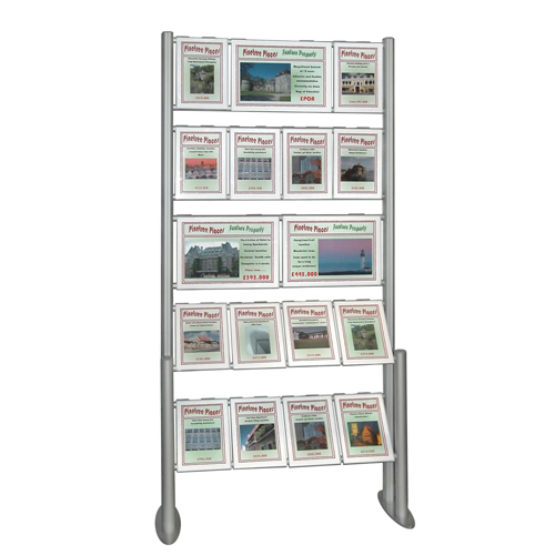 Estate agent combi ladder display with mixed A3L and A4P