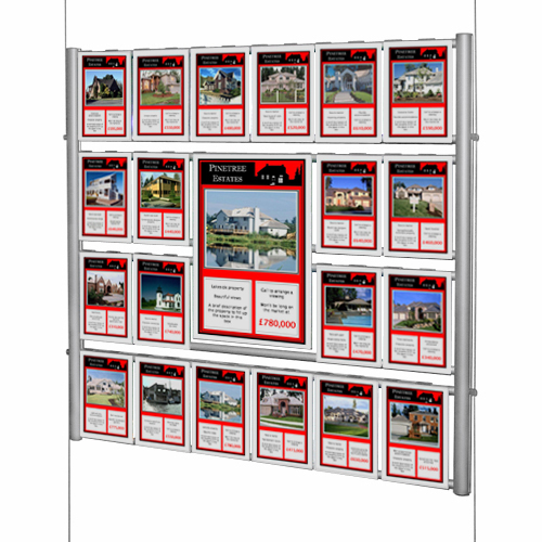 Suspended poster display - estate agent stand with mixed poster sizes