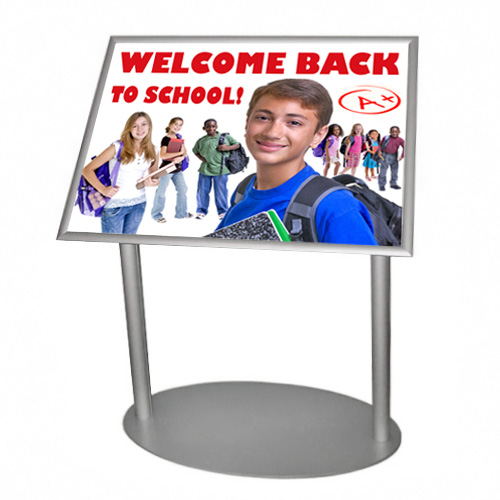 Angled poster stand (lectern) with snap frame with school theme