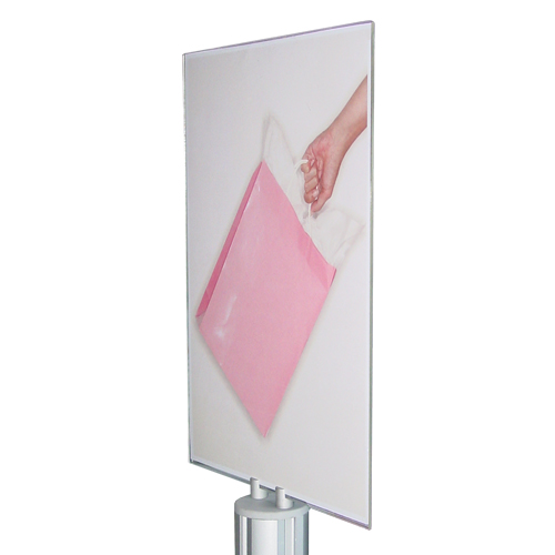 A4P poster holder atop standard carrier bag stand