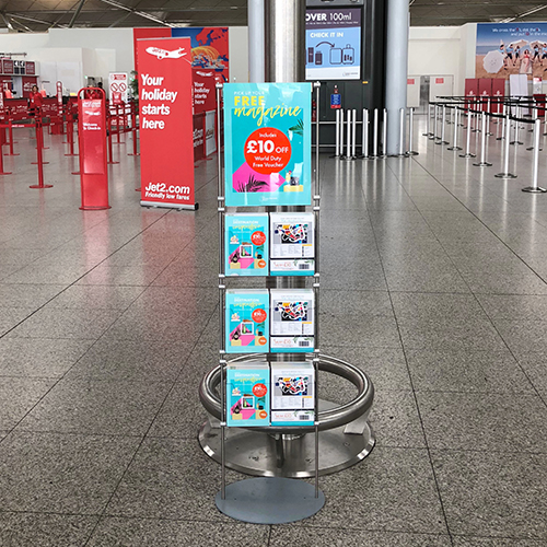 Lite brochure and poster stand at Stansted Airport