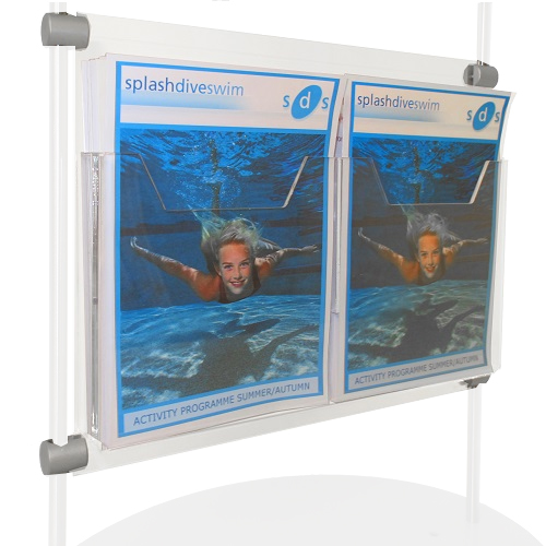 Double A5P clamp-on leaflet dispenser for lite stand 321mm