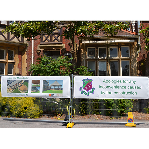 Printed banners at Farnborough Hill