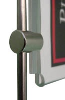 detail of clamp-on poster holder with bar clamp