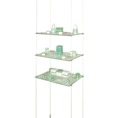 Suspended glass shelves