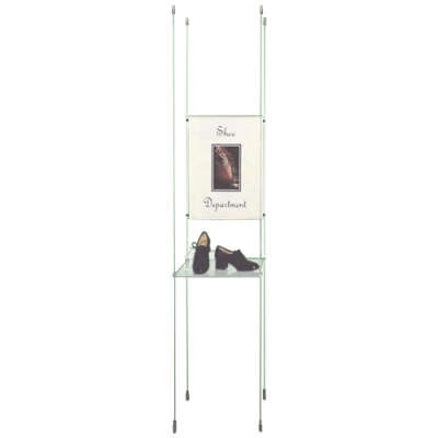 Glass shelving with poster holder