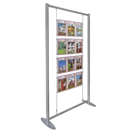 PF1: Poster display stands - holders on suspended wires