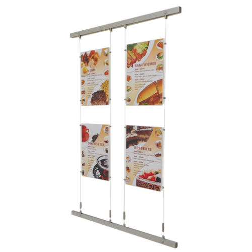 A3P menu holders on wall fixing bars