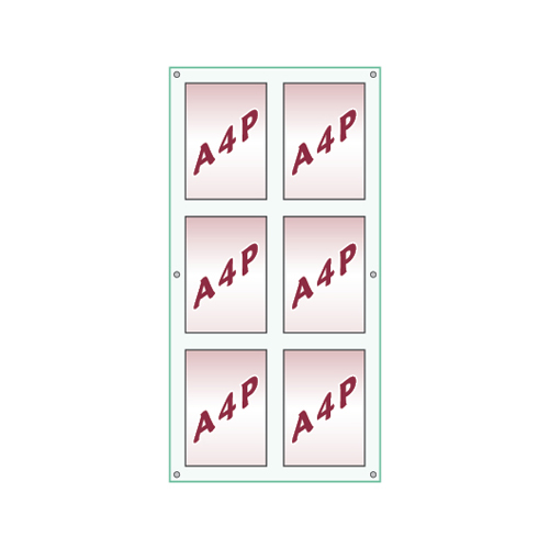 Glass look wall panel with six A4 portrait poster holders
