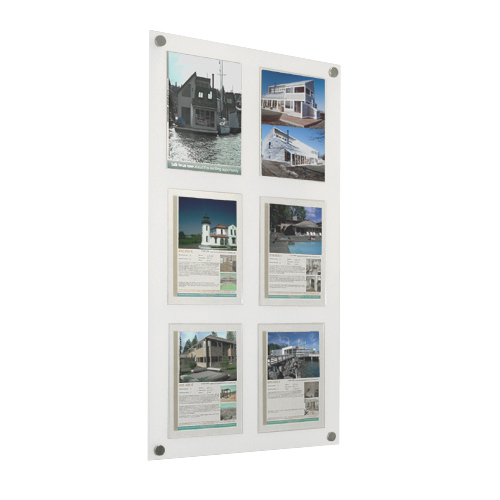 wall mount poster panel in frosted acrylic with 6x A4P posters