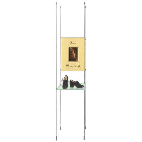 Suspended shelves with posters - A2P and 330mm deep shelf