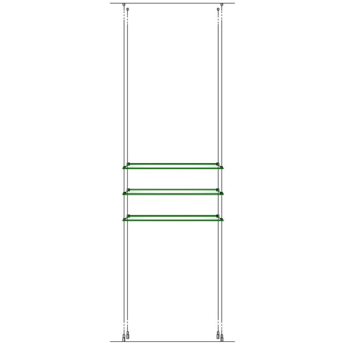 3x 618x330mm toughened glass shelves on wires