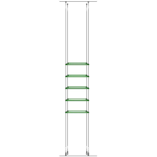 5x 321 x 200mm suspended glass shelves