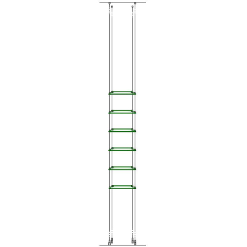 wire-suspended toughened glass shelving - 6x 234x200mm