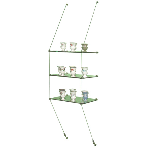Wall-suspended glass shelves - 3x 444x200mm
